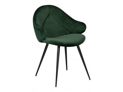 Lahvově zelená sametová jídelní židle DanForm Manta