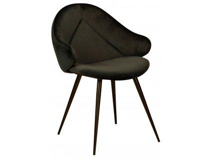 Černá sametová jídelní židle DanForm Manta
