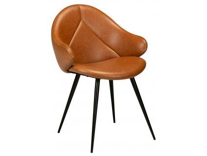 Koňakově hnědá čalouněná jídelní židle DanForm Manta