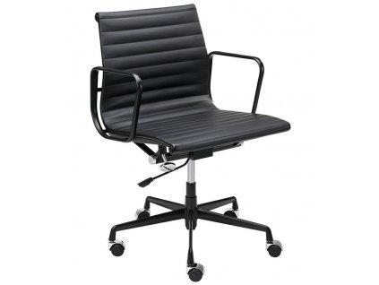 Černá čalouněná konferenční židle Aero na kolečkách