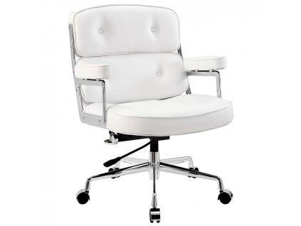 Bílé kožené kancelářské křeslo Ebony s chromovanou podnoží