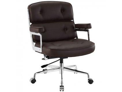 Hnědé kožené kancelářské křeslo Ebony s chromovanou podnoží