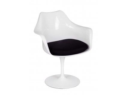 Bílá plastová jídelní židle Tulip s černým látkovým sedákem