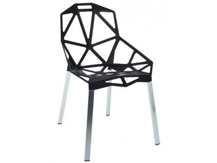 Černá kovová jídelní židle Maxwell se stříbrnou podnoží