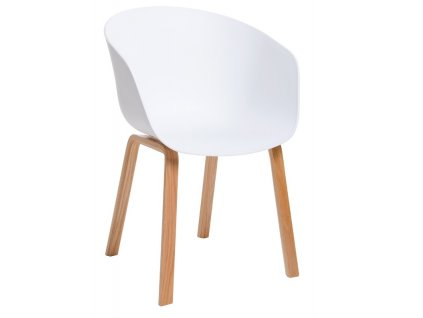 Bílá plastová jídelní židle Melinda s bukovou podnoží