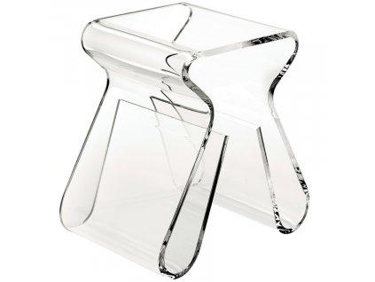 Transparentní plastový odkládací stolek Maggie 42 x 29 cm