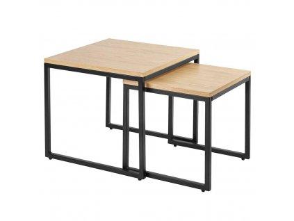Set dvou kovových odkládacích stolků Maxwell s dřevěnou deskou