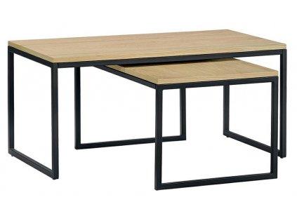 Set dvou kovových konferenčních stolků Maxwell s dubovou deskou