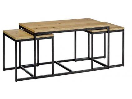 Set tří kovových odkládacích stolků Maxwell s dubovou deskou