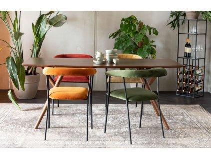 Hnědý jídelní stůl DUTCHBONE Malaya 180x90 cm s dřevěnou podnoží