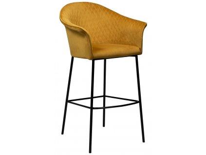 Hořčicová sametová barová židle Dan-Form Kite
