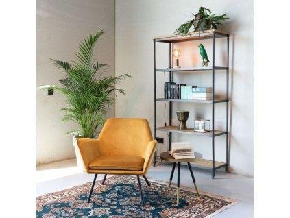 Zlaté sametové lounge křeslo WLL BON s kovovou podnoží