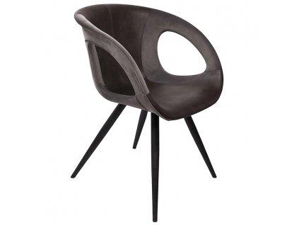 Šedá sametová jídelní židle DanForm Omega