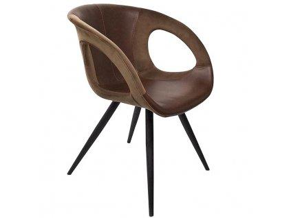 Hnědá koženková jídelní židle DanForm Omega
