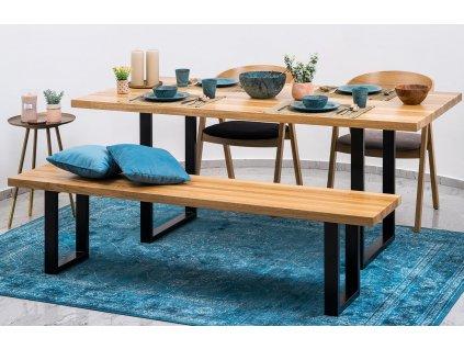 Masivní dubový jídelní stůl Formwood Phillip s kovovou podnoží do U