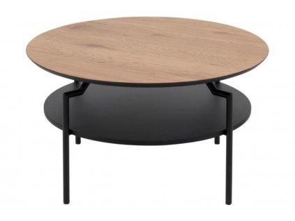 Hnědý dřevěný konferenční stolek Stephan 80 cm s policí a kovovou podnoží