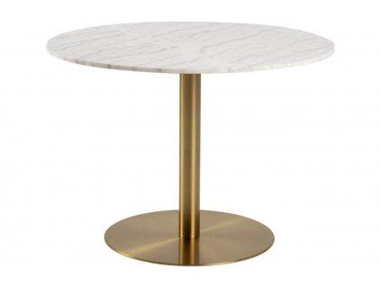 Mramorový kulatý jídelní stůl Aron 105 cm s kovovou podnoží