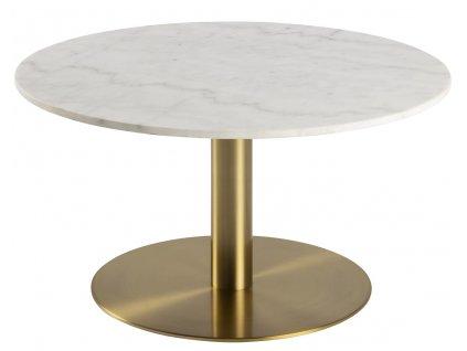 Mramorový kulatý konferenční stolek Aron 80 cm s kovovou podnoží