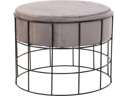 Béžový sametový taburet Potts s kovovou konstrukcí