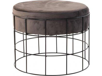 Hnědý sametový taburet Potts s kovovou klecovitou konstrukcí