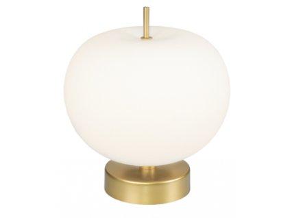 Stolní skleněná lampa Apple se zlatě lakovanou kovovou podnoží