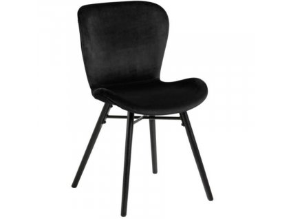 Černá sametová jídelní židle Matylda s kovovou podnoží