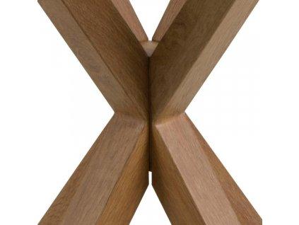 Skleněný odkládací stolek Cody s dřevěnou podnoží