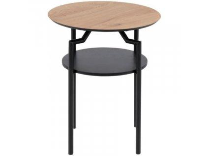 Hnědý dřevěný odkládací stolek Stephan 45 cm s kovovou podnoží