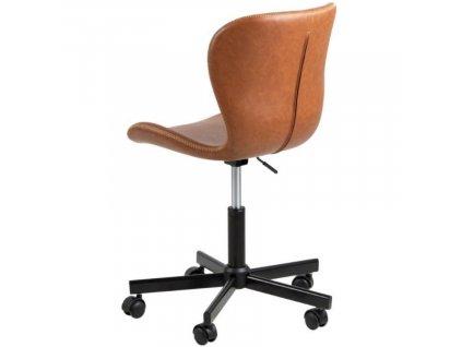 Hnědá koženková kancelářská židle Matylda na kolečkách