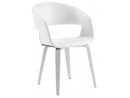 Bílá čalouněná židle Damaro s bílou topolovou dřevěnou podnoží a sedákem z ekokůže
