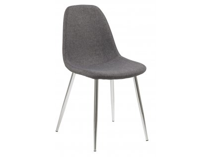 Tmavě šedá čalouněná jídelní židle Wanda s chromovou podnoží