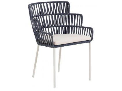 Modrá ratanová jídelní židle LaForma Robyn s bílou kovovou podnoží