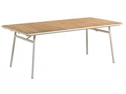 Přírodní akátový zahradní stůl LaForma Robyn 100x200 cm s kovovou podnoží