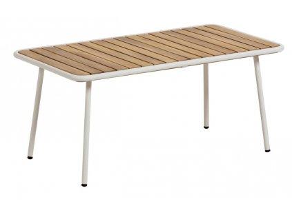 Přírodní akátový zahradní konferenční stolek LaForma Robyn s kovovou podnoží