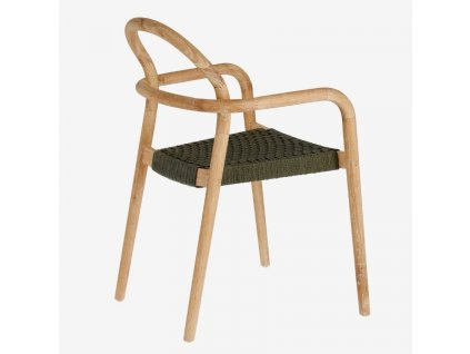 Zelená dřevěná zahradní židle LaForma Sheryl s pleteným sedákem