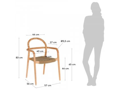 Béžová dřevěná zahradní židle LaForma Sheryl s pleteným sedákem
