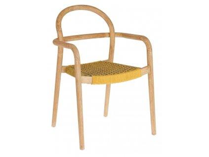 Hořčicově žlutá dřevěná zahradní židle LaForma Sheryl s pleteným sedákem