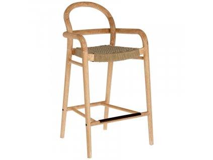 Béžová dřevěná zahradní barová židle LaForma Sheryl 100 cm s pleteným sedákem