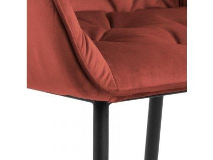 Korálově červěná sametová jídelní židle Thalia II. s kovovou podnoží
