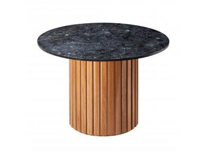 Černý mramorový kulatý jídelní stůl RGE Moon s dubovou podnoží