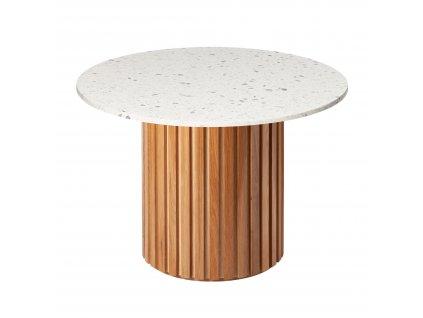 Bílý terazzo kulatý jídelní stůl RGE Moon s dubovou podnoží