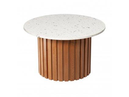 Bílý terrazzo kulatý konferenční stolek RGE Moon Ø 85 cm