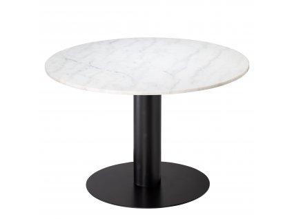 Bílý mramorový kulatý jídelní stůl RGE Pepo s černě lakovanou kovovou podnoží