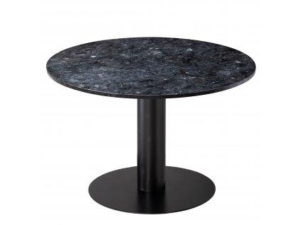 Černý mramorový kulatý jídelní stůl RGE Pepo s kovovou podnoží