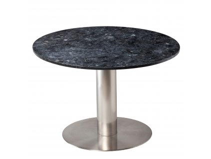 Černý mramorový kulatý jídelní stůl RGE Pepo s kartáčovanou podnoží