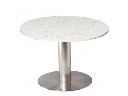 Bílý terazzo kulatý jídelní stůl RGE Pepo s kartáčovanou podnoží