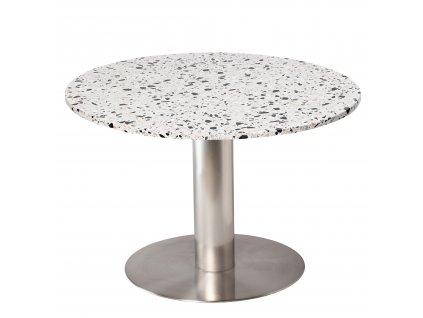Šedý terazzo kulatý jídelní stůl RGE Pepo s kartáčovanou podnoží