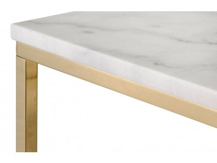 Bílý mramorový konferenční stolek RGE Accent s lesklou zlatou podnoží 53 cm
