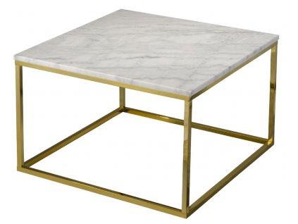 Bílý mramorový konferenční stolek RGE Accent s lesklou zlatou podnoží 75 cm