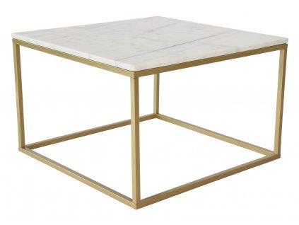 Bílý mramorový konferenční stolek RGE Accent se zlatou podnoží 75 cm